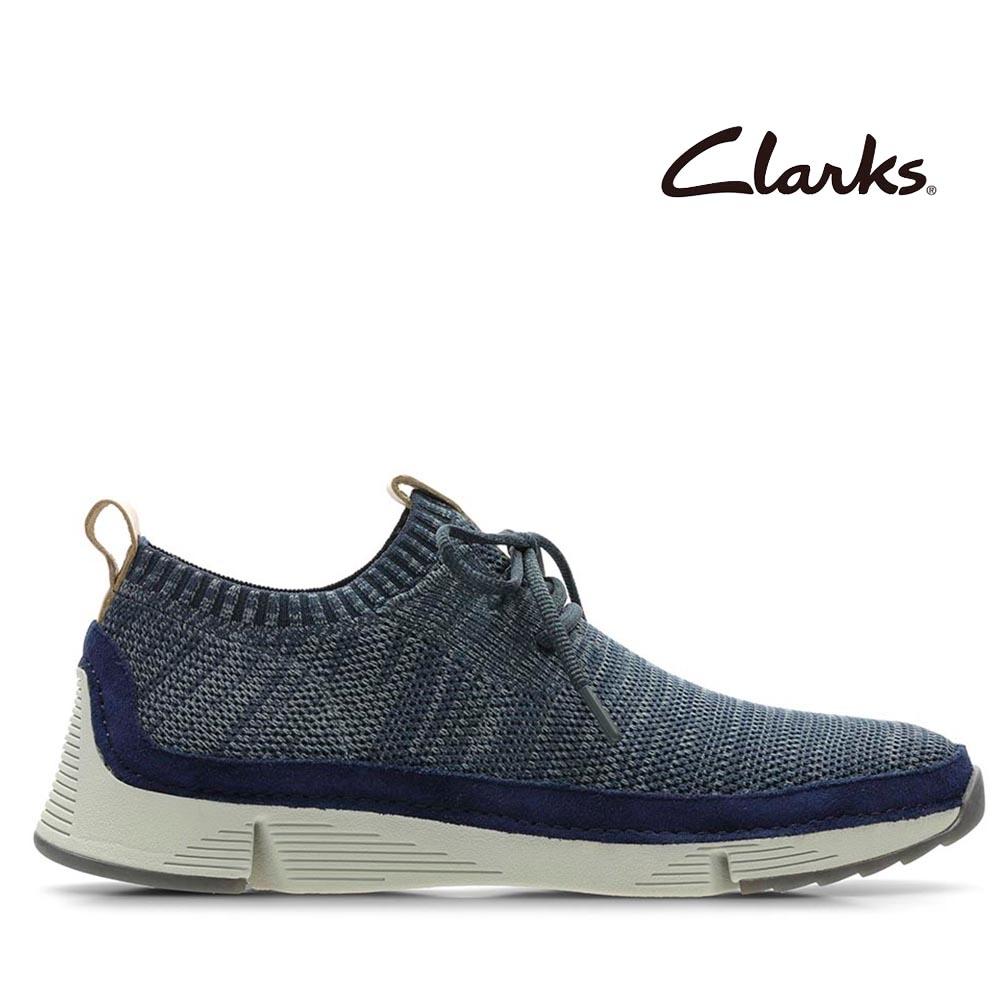 Clarks 運動行風織面透氣襪套式鞋口輕量三瓣底休閒鞋 海軍藍