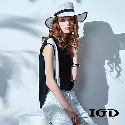 IGD英格麗 細條紋撞色拼接連身褲-白色