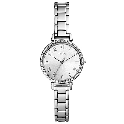 FOSSILKinsey復古晶鑽時尚手錶(ES4448)-銀/28mm