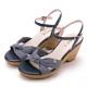 MAGY 條紋布面扭結拼接牛皮編織楔型 女 涼鞋 藍色 product thumbnail 1