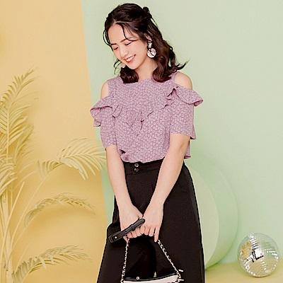 iMODA STAR-臧芮軒。甜美愛心印花露肩短袖雪紡上衣