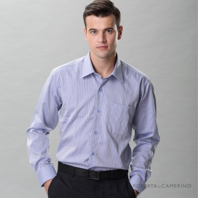 ROBERTA諾貝達 進口素材 台灣製 職場 純棉簡約條紋長袖襯衫  藍色