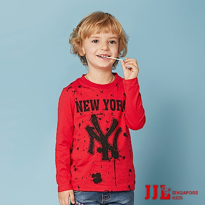 JJLKIDS 紐約男孩潑漆印花純棉T(紅色)