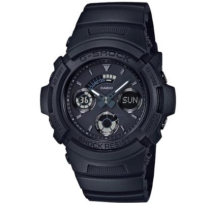 G-SHOCK 潮流專屬黑色控日線全黑系列休閒運動錶(AW-591BB-1A)/46.4mm
