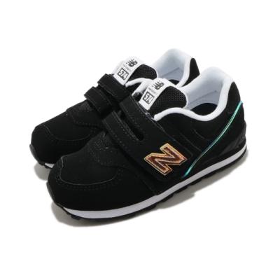 New Balance 休閒鞋 574 Wide 寬楦 童鞋 紐巴倫 基本款 簡約 魔鬼氈 小童 黑 金 IV574MTKW