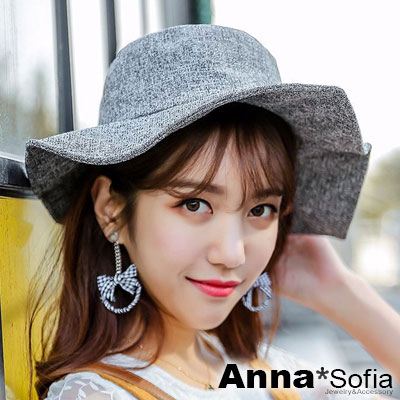 AnnaSofia 獨特方弧型條絮 遮陽防曬漁夫帽盆帽(深灰系)