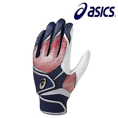 Asics 亞瑟士 打擊手套 一雙 藍紅 BEG281-5023