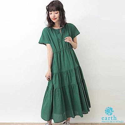 earth music 蛋糕裙抓皺剪裁純棉連身洋裝