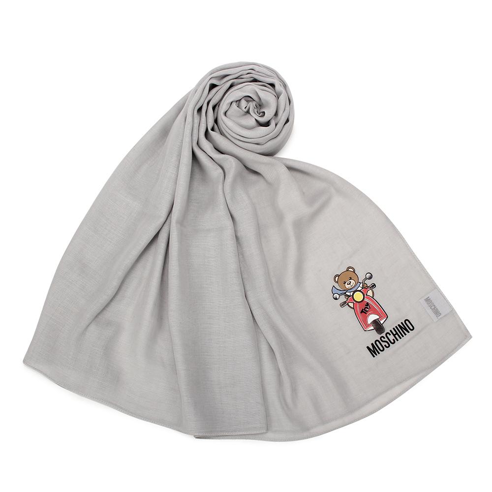 MOSCHINO 經典TOY小熊棉麻混絲薄圍巾-淺灰色