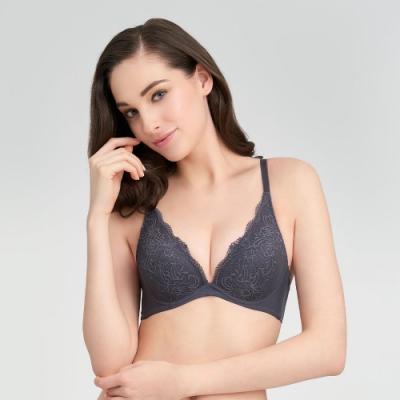 黛安芬-時尚嚴選系列 低V托高集中 B-C罩杯內衣 深灰色
