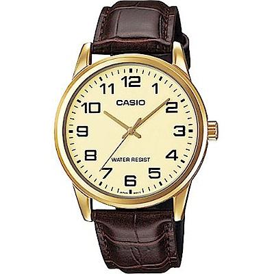 CASIO 經典復古時尚簡約指針紳士腕錶(MTP-V001GL-9B)黃面X金框/40mm