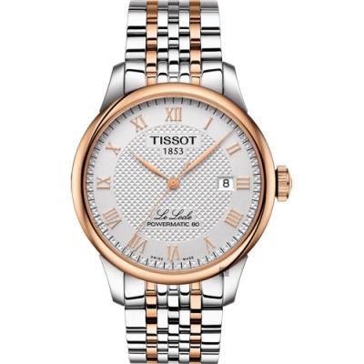 TISSOT天梭 Le Locle 80小時動力儲存機械錶-銀x雙色/39mm