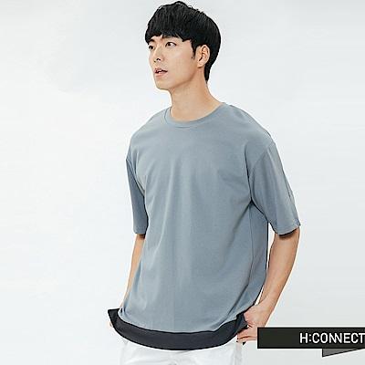 H:CONNECT 韓國品牌 男裝-立體縫線拼接上衣-藍