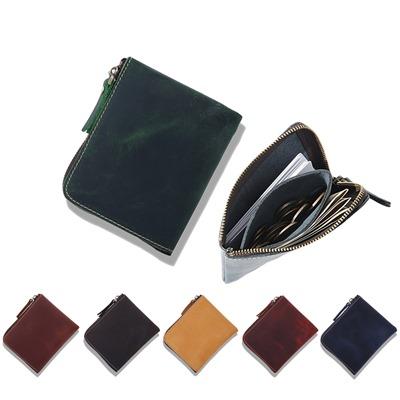 玩皮工坊真皮瘋馬牛皮復古變色個性輕薄便攜男女通用拉鏈皮夾皮包錢夾零錢包LH198