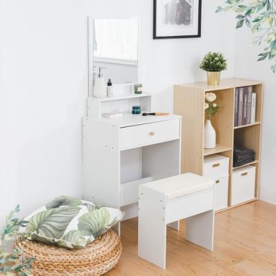 樂嫚妮 化妝台桌椅組/附直立鏡/雙層收納-寬50X高135X深35.5cm