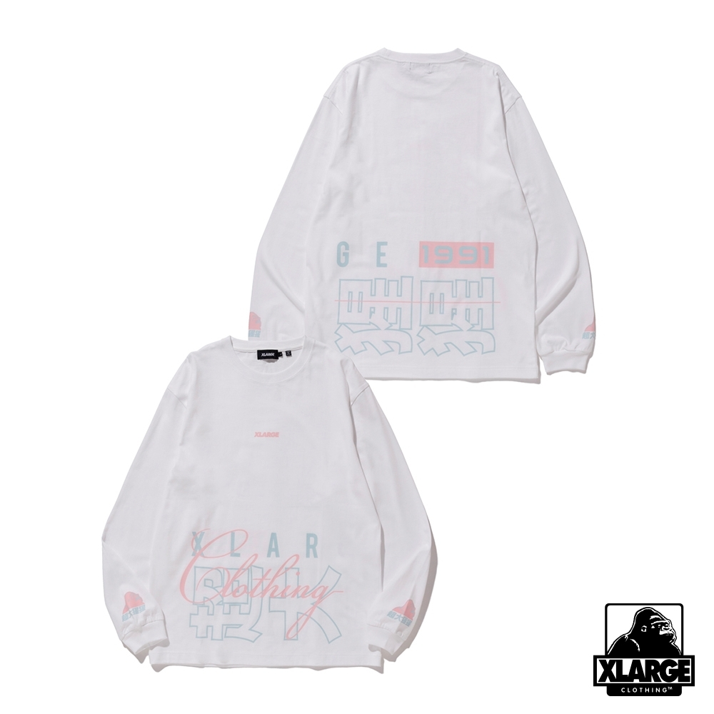 XLARGE L/S TEE CHINESE LETTERS長袖T恤-白
