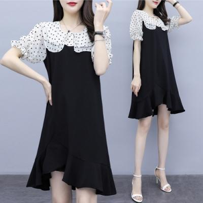 假兩件小愛心金蔥雙層荷葉領拼接魚尾裙擺不規則洋裝XL~4L-Ballet Dolly