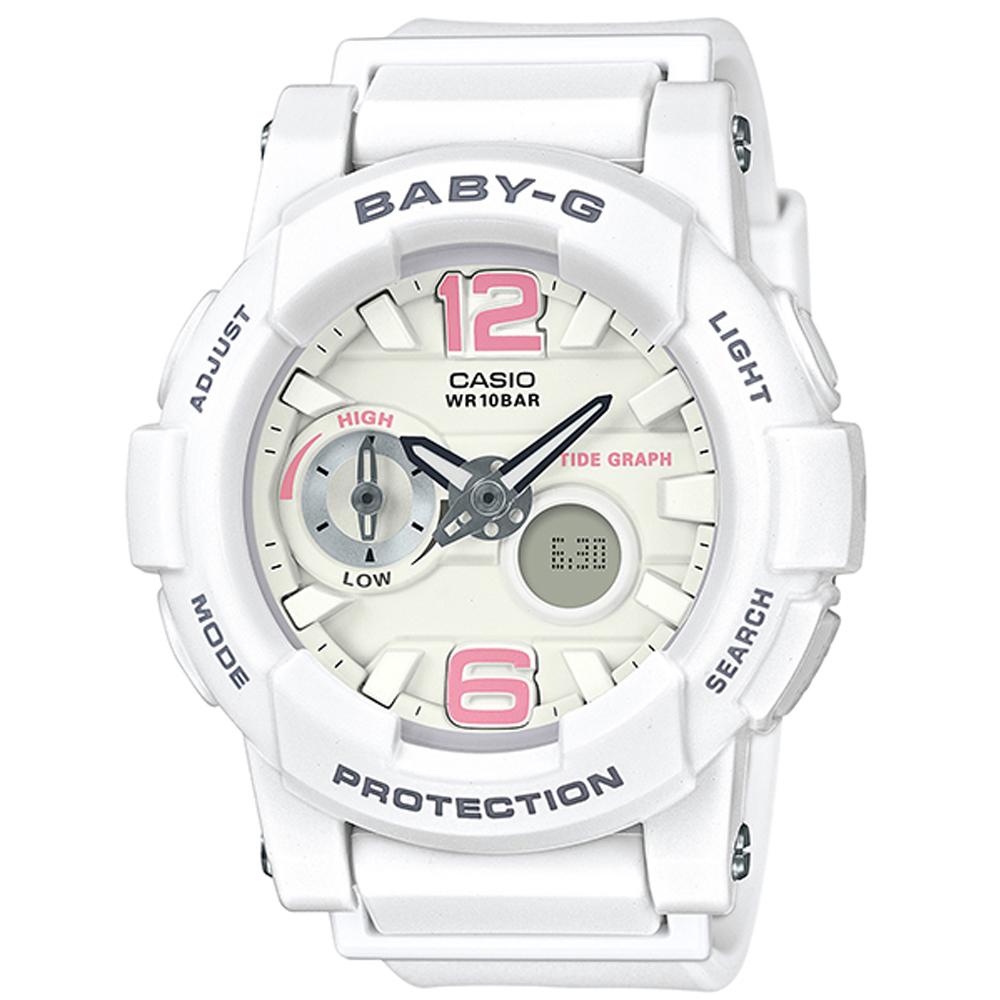 BABY-G衝浪板造型粉嫩春天氣息風格休閒錶(BGA-180BE-7)白X粉紅時刻44mm @ Y!購物