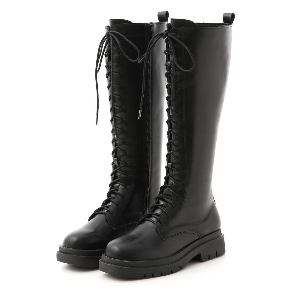 D+AF 勁酷時尚.鬆糕底綁帶馬汀長靴*黑