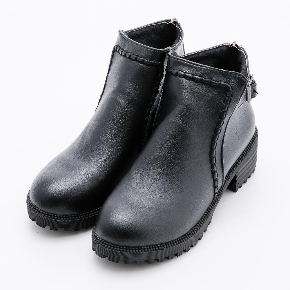 River&Moon大尺碼短靴 立體縫線扣環粗跟短靴 黑