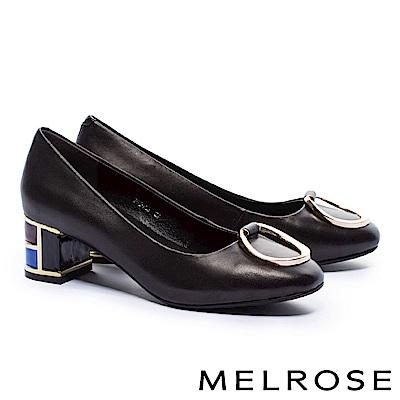 高跟鞋 MELROSE 復古奢華金屬圓環設計羊皮特色鞋跟高跟鞋-黑