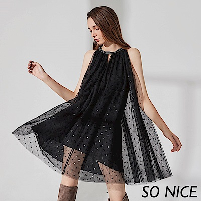 SO NICE優雅圓點削肩網紗洋裝