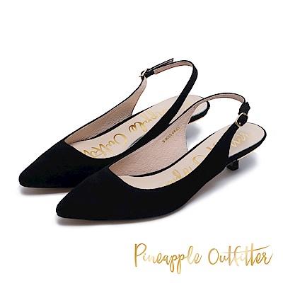 Pineapple Outfitter 完美比例 絨面後繫帶跟鞋-絨黑