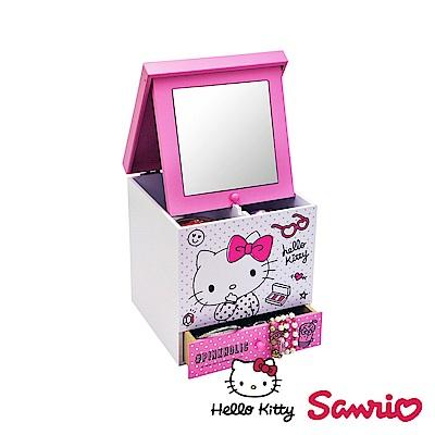Hello Kitty 凱蒂貓 美妝化妝鏡盒 桌上收納 文具收納 飾品收納