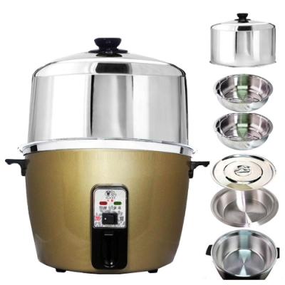 天蠶10人份香檳金電鍋YL-10A5(304不鏽鋼加高電鍋蓋+懸空內鍋及鍋蓋+2高蒸盤)
