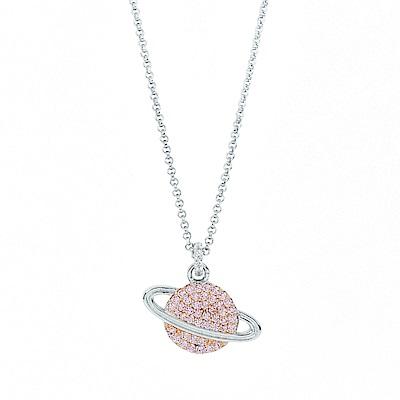 apm MONACO法國精品珠寶 閃耀銀色星球粉鋯可調整長項鍊