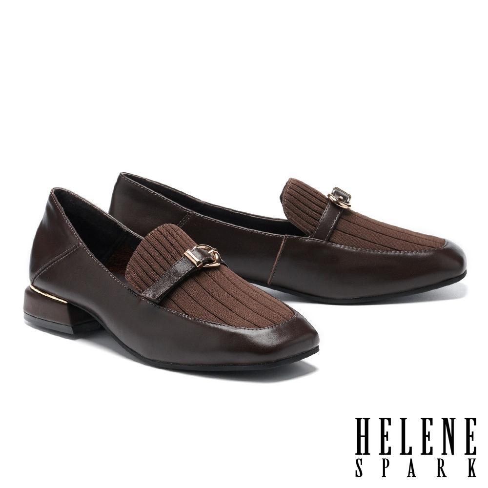 低跟鞋 HELENE SPARK 復古知性異材質拼接方頭樂福低跟鞋-咖