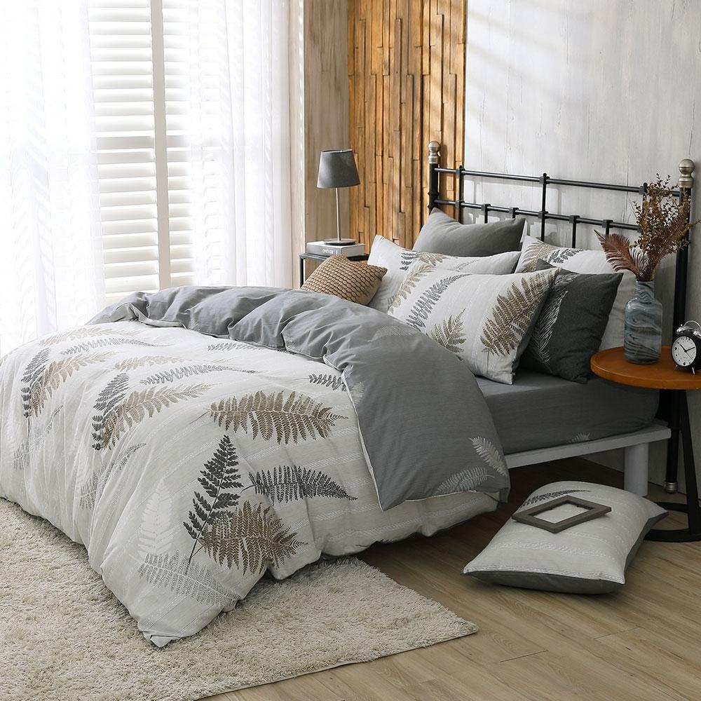 鴻宇 100%精梳棉 葉夜 雙人特大四件式兩用被套床包組