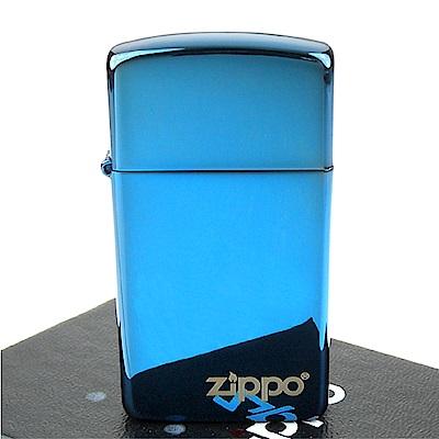 ZIPPO美系-LOGO字樣打火機~超質感Sapphire藍寶色鏡面