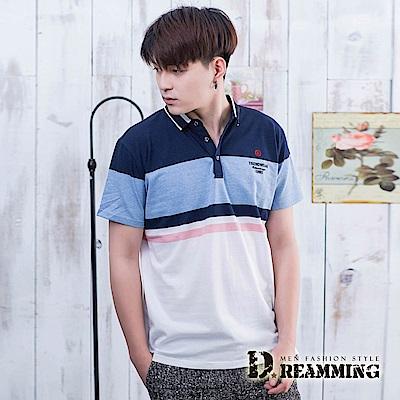 Dreamming 紳士拼色線條透氣棉質彈力短POLO衫-共二色