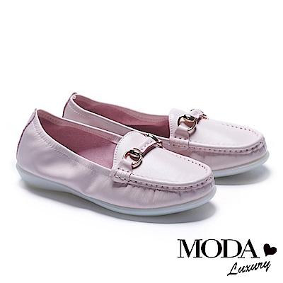 休閒鞋 MODA Luxury 簡約百搭馬銜釦全真皮莫卡辛厚底休閒鞋-粉