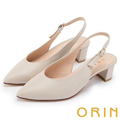 ORIN 俐落優雅 素面羊皮繫帶尖頭粗中跟鞋-米色