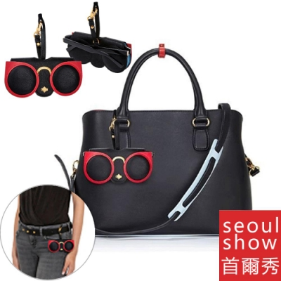 seoul show首爾秀  紅色貓眼外掛墨鏡收納包光學眼鏡保護夾太陽眼鏡盒