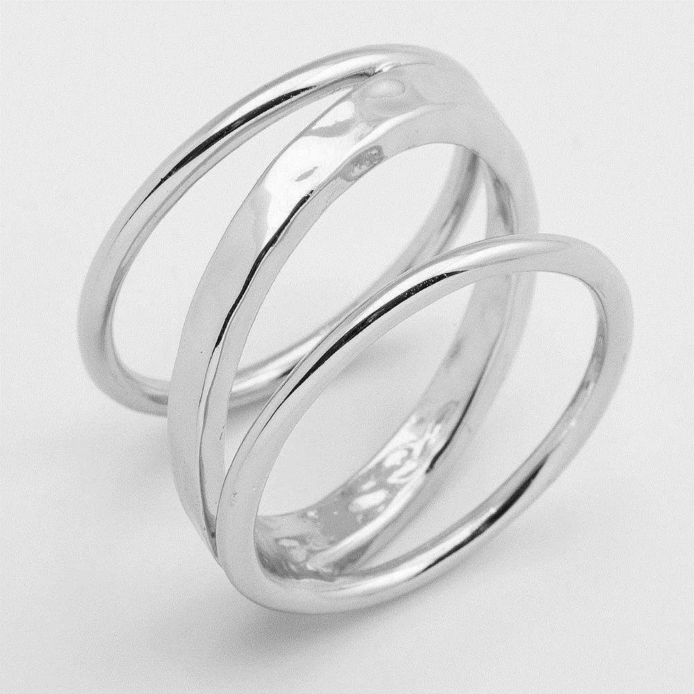 GORJANA Silas Ring 多層次波浪戒指 銀色寬版戒