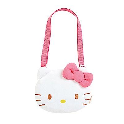 Sanrio HELLO KITTY大頭造型童用迷你絨毛斜背包(粉蝴蝶結-18)