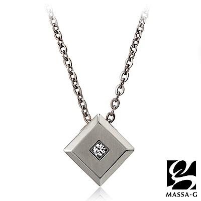 MASSA-G LJ系列【the Diamond銀色方塊】金屬鍺錠純鈦項鍊
