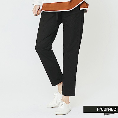 H:CONNECT 韓國品牌 女裝-休閒鬆緊綁帶直筒褲-黑