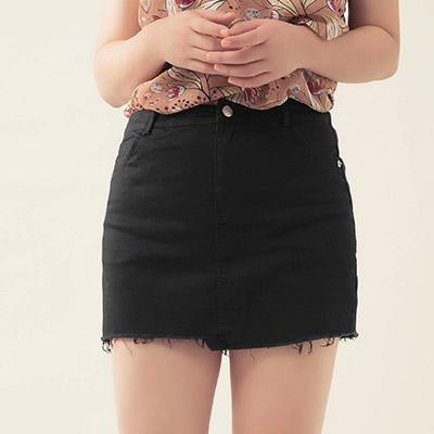 AIR SPACE PLUS 涼感顯瘦不對稱抽鬚褲裙(黑)