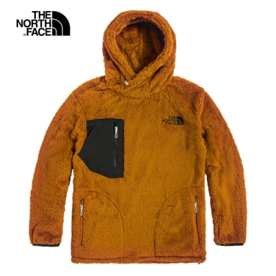 The North Face北面UE男款棕黃色連帽抓絨上衣|4U6BVC7