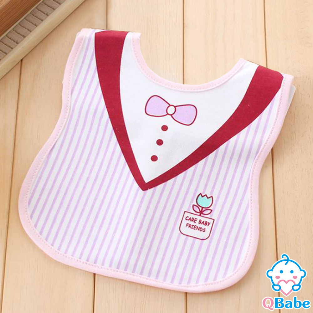QBabe 可愛卡通防水圍兜口水巾-西裝粉