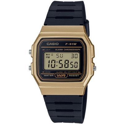 CASIO 方型復古造型電子腕錶-金(F-91WM-9A)/35mm