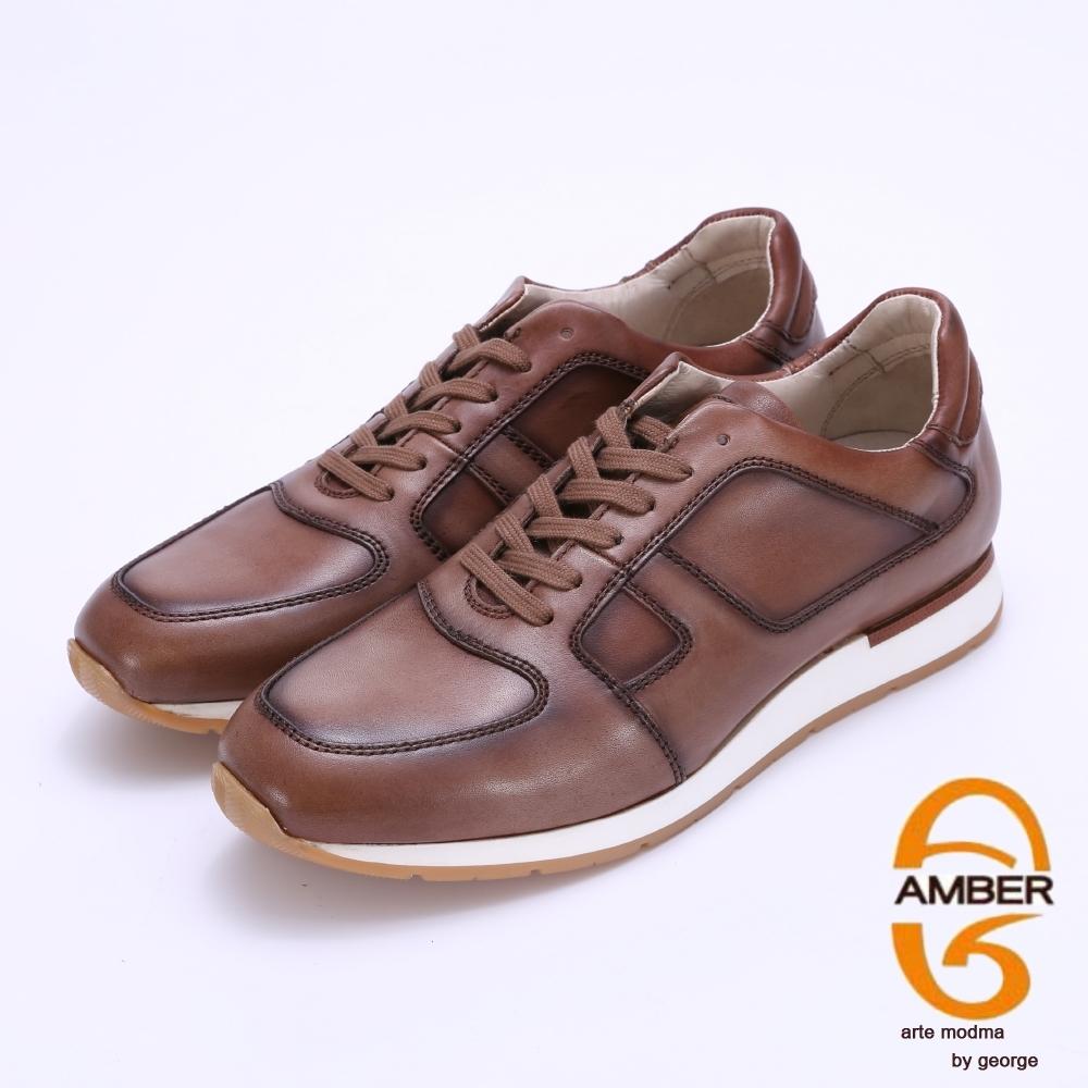Amber 柔軟牛皮仿舊綁帶休閒鞋-咖啡色
