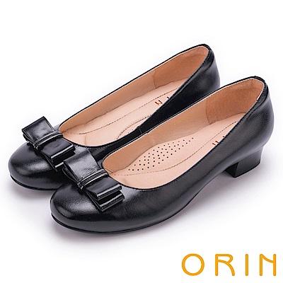ORIN 優雅甜美系 蝴蝶結飾釦嚴選柔軟羊皮低跟鞋-黑色