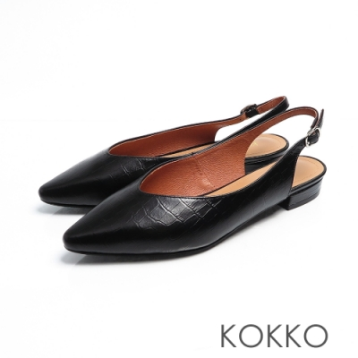 KOKKO - 微甜布朗尼純色後拉帶尖頭平底鞋-鱷紋黑
