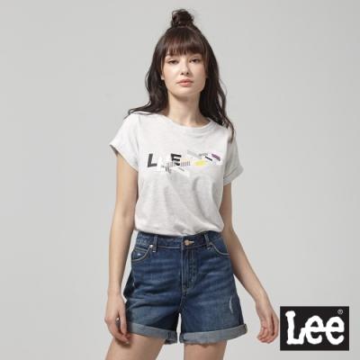 Lee短袖T恤 建築透視圖案彩色印刷 麻花灰 女