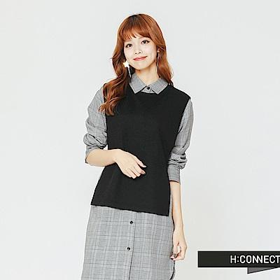 H:CONNECT 韓國品牌 女裝-兩件式背心襯衫洋裝-黑